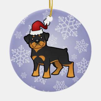 Christmas  Rottweiler Ceramic Ornament