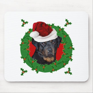 Christmas Rottweiler dog Mouse Pad