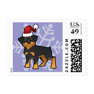 Christmas Rottweiler Postage Stamp