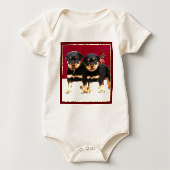 Christmas Rottweiler puppies Baby Bodysuit