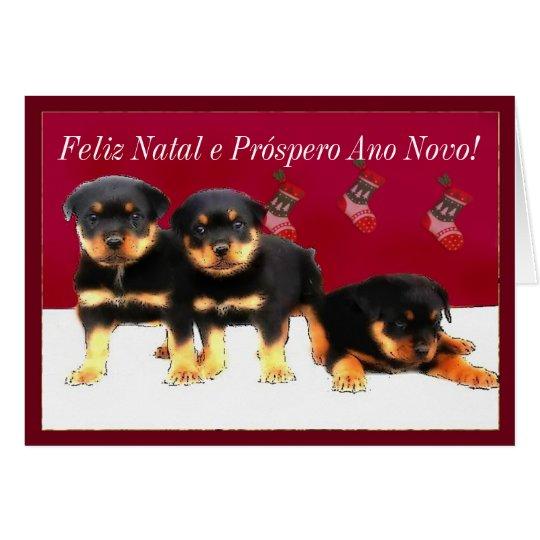 Christmas Rottweiler puppies Card