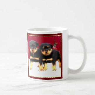 Christmas Rottweiler puppies Coffee Mug
