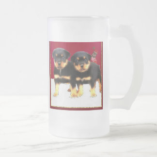 Christmas Rottweiler puppies Frosted Glass Beer Mug