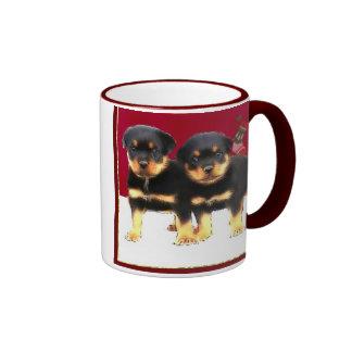 Christmas Rottweiler puppies Ringer Mug