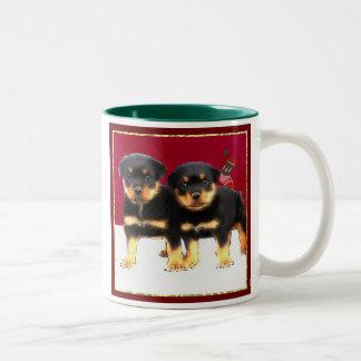 Christmas Rottweiler puppies Two-Tone Coffee Mug