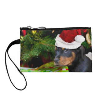 Christmas Rottweiler puppy Change Purse