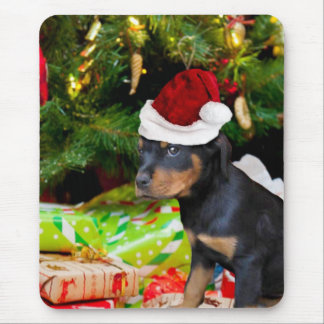 Christmas Rottweiler puppy Mouse Pad