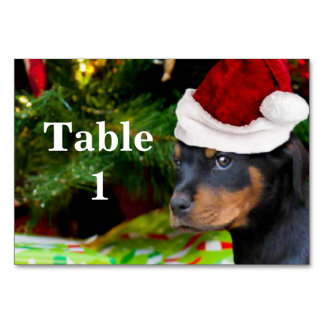 Christmas Rottweiler puppy table card