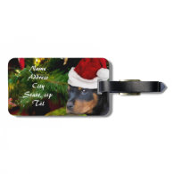 Christmas Rottweiler puppy Tag For Bags