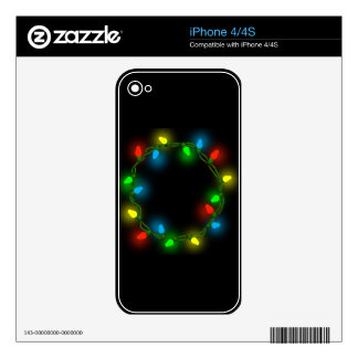 Christmas round lights skins for iPhone 4S