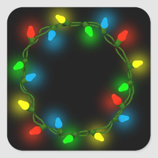 Christmas round lights square sticker