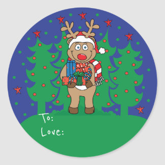 "Christmas Round Stickers ""Rudolph"" Personalize"