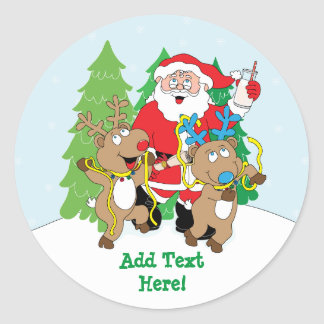 Christmas Round Stickers Santa Claus Personalize