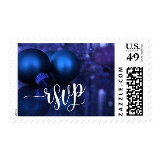 Christmas RSVP Typography, Blue & Purple Ornaments Postage