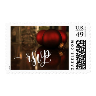 Christmas RSVP Typography & Red Ornaments Photo Postage