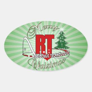 CHRISTMAS RT RADIOLOGIC TECHNOLOGIST OVAL STICKER