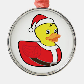 Christmas Rubber Ducky in Santa Outfit Metal Ornament