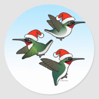 Christmas Ruby-throated Hummingbird Round Sticker
