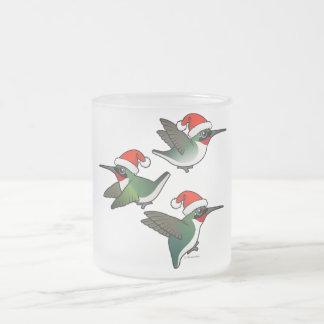 Christmas Ruby-throated Hummingbird Frosted Glass Coffee Mug