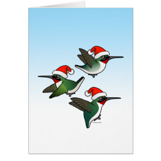 Christmas Ruby-throated Hummingbird Greeting Card