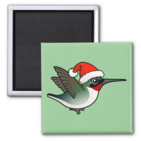 Christmas Ruby-throated Hummingbird Square Magnet