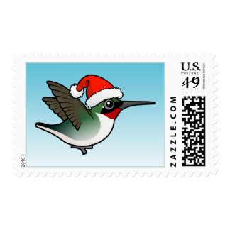 Christmas Ruby-throated Hummingbird Stamps