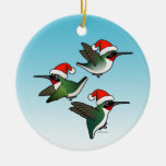 Christmas Ruby-throated Hummingbirds Double-Sided Ceramic Round Christmas Ornament
