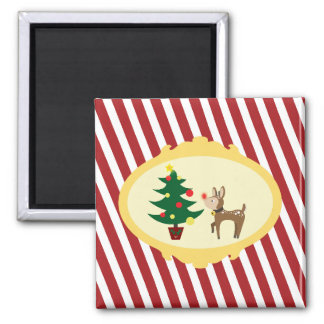 Christmas Rudolph 2 Inch Square Magnet