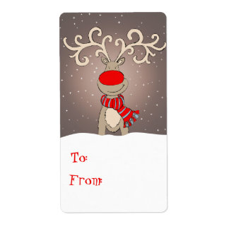 Christmas Rudolph gift tag grey (to and from) Custom Shipping Label
