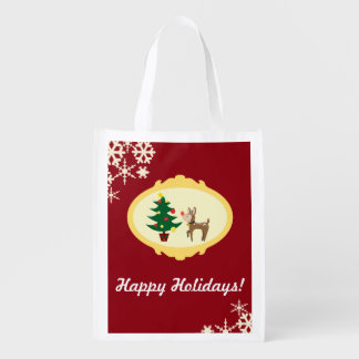 Christmas Rudolph Grocery Bag