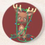 Christmas Rudolph Reindeer Holiday  Coaster
