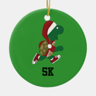 Christmas Running Turtle 5K Double-Sided Ceramic Round Christmas Ornament