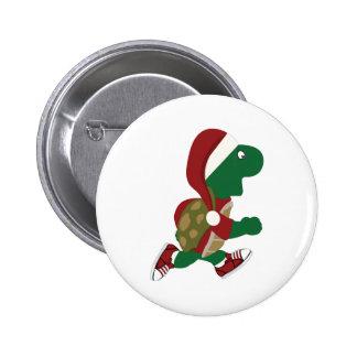Christmas Running Turtle 2 Inch Round Button