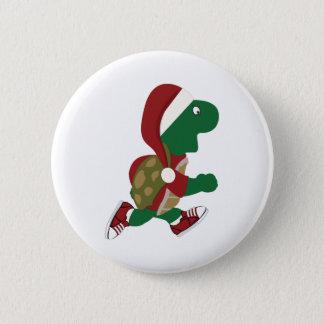 Christmas Running Turtle Pinback Button