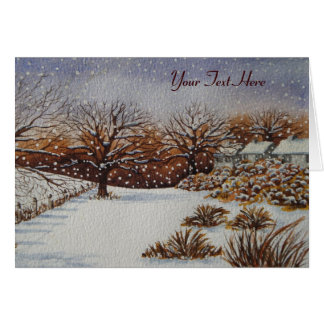 Christmas rural cottages snow scene art card