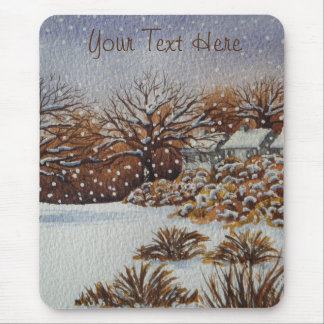 Christmas rural cottages snow scene art mouse pad