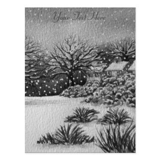 Christmas rural cottages snow scene art postcard