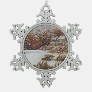 Christmas rural cottages snow scene art snowflake pewter christmas ornament