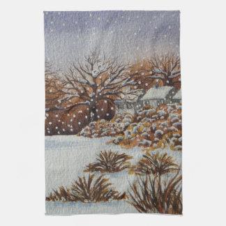 Christmas rural cottages snow scene art t-towel kitchen towel