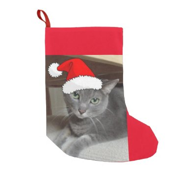 Christmas Themed Christmas Russian Blue Cat Small Christmas Stocking