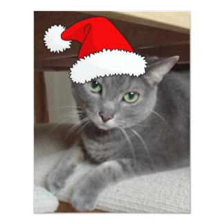 Christmas Russian Blue Gray Cat Invitations