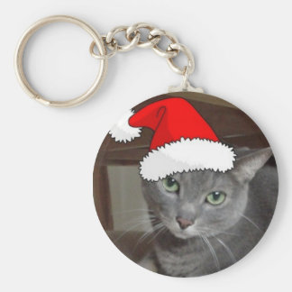 Christmas Russian Blue Gray Cat Keychain