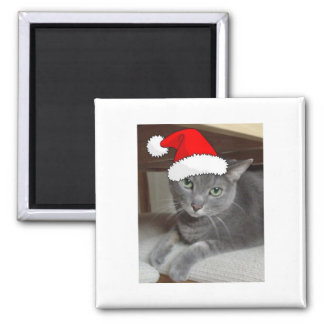 Christmas Russian Blue Gray Cat Magnet