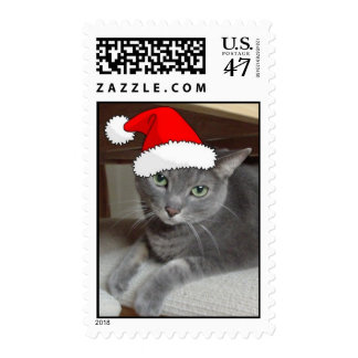 Christmas Russian Blue Gray Cat Postage Stamp