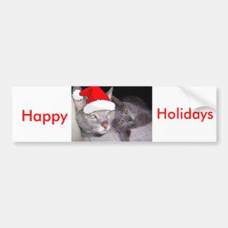 Christmas Russian Blue Gray Cats Bumper Sticker