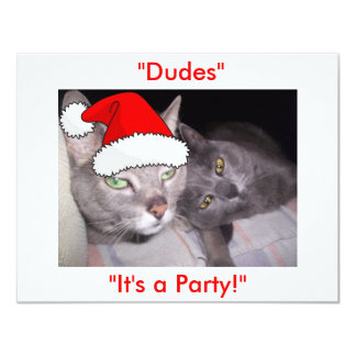Christmas Russian Blue Gray Cats 4.25x5.5 Paper Invitation Card