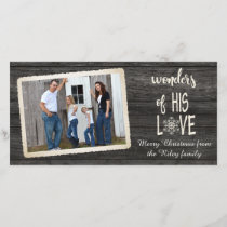 Christmas rustic black wood with photo frame holiday card