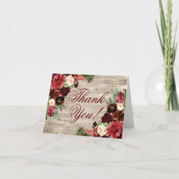 Christmas Rustic Boho Floral Burgundy Gold Burlap Thank You Card