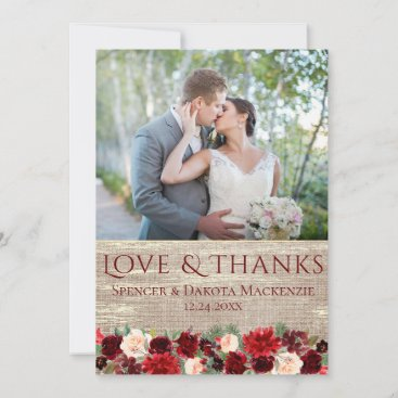 Christmas Rustic Boho Floral Burgundy Gold Photo Thank You Card