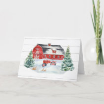 Christmas Rustic Farmhouse Shiplap Tractor Snow Holiday Card